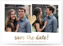 Double the Love Foil-Pressed Save The Date Cards
