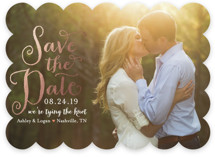 Charmed Calligraphy Foil-Pressed Save The Date Cards