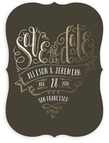 Handlettered Heart Foil-Pressed Save The Date Cards