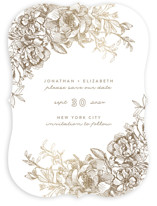 Engraved Flowers Foil-Pressed Save The Date Cards
