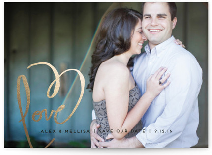 Love + Heart Foil-Pressed Save the Date Cards