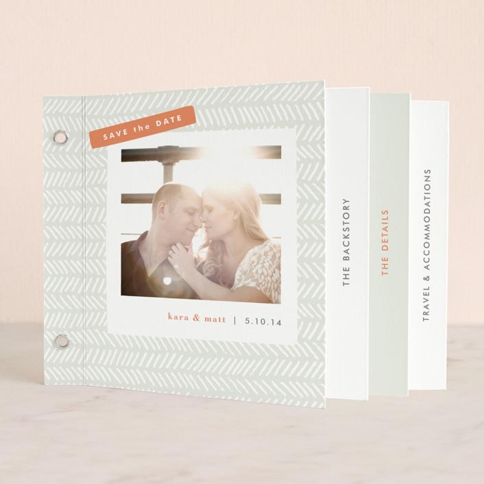 """Herringbone"" - Preppy Minibook Save The Date Cards in Feather Grey by Jennifer Wick."