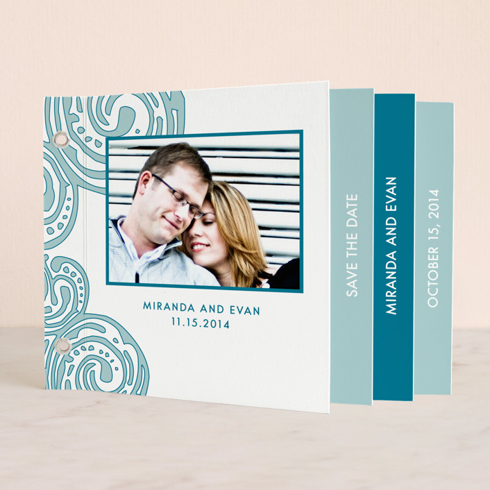 """Contemporary Chic"" - Whimsical & Funny Minibook Save The Date Cards in Teal by Guess What Design Studio."