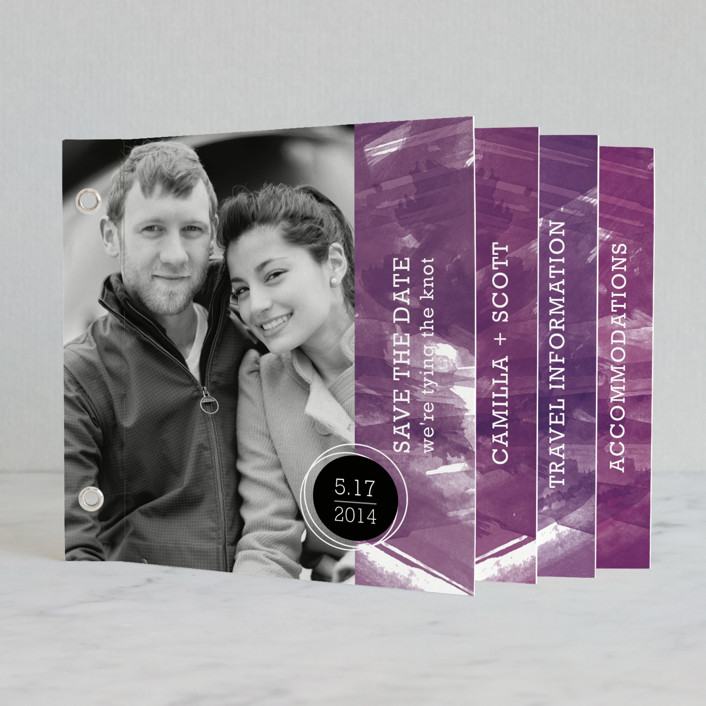"""""""Aurora"""" - Modern Minibook Save The Date Cards in Amethyst by Paper Plains."""