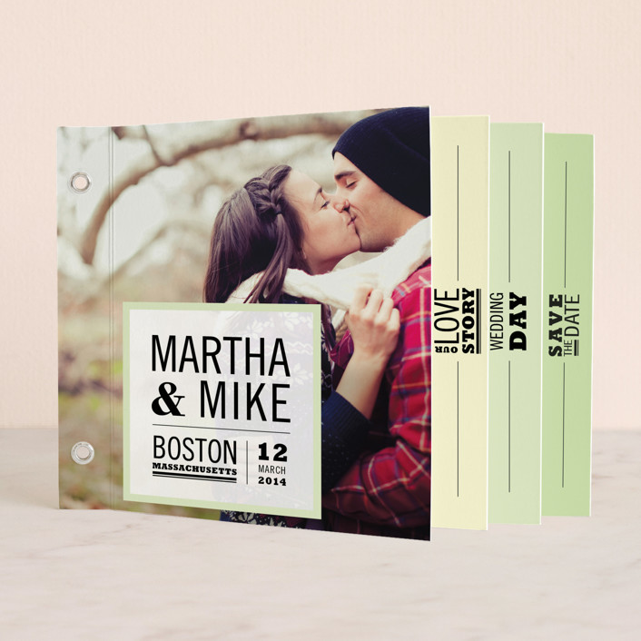 """Our Love Story"" - Modern Minibook Save The Date Cards in Soft Green by Katie Wahn."