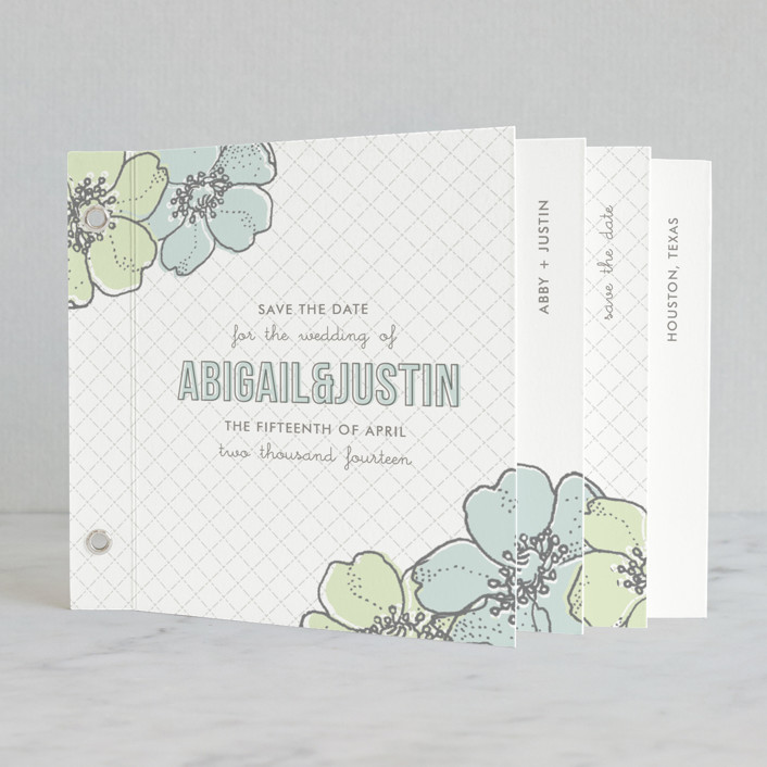 """Love in Bloom"" - Floral & Botanical Minibook Save The Date Cards in Cloud Blue by Lauren Chism."