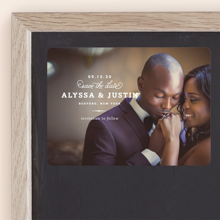 """""""Timeless"""" - Classical, Simple Save The Date Magnets in Pearl by Oscar & Emma."""