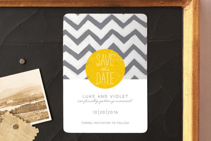 """My Sunshine"" - Bold typographic, Modern Save The Date Magnets in Sunshine by Susie Allen."