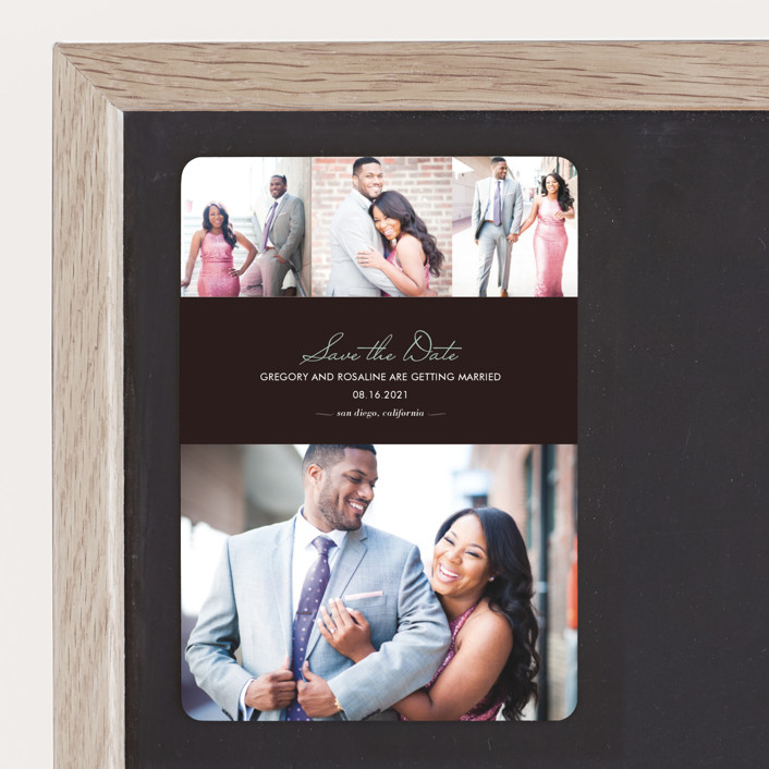 """""""Chic"""" - Modern, Simple Save The Date Magnets in Bark by kelli hall."""
