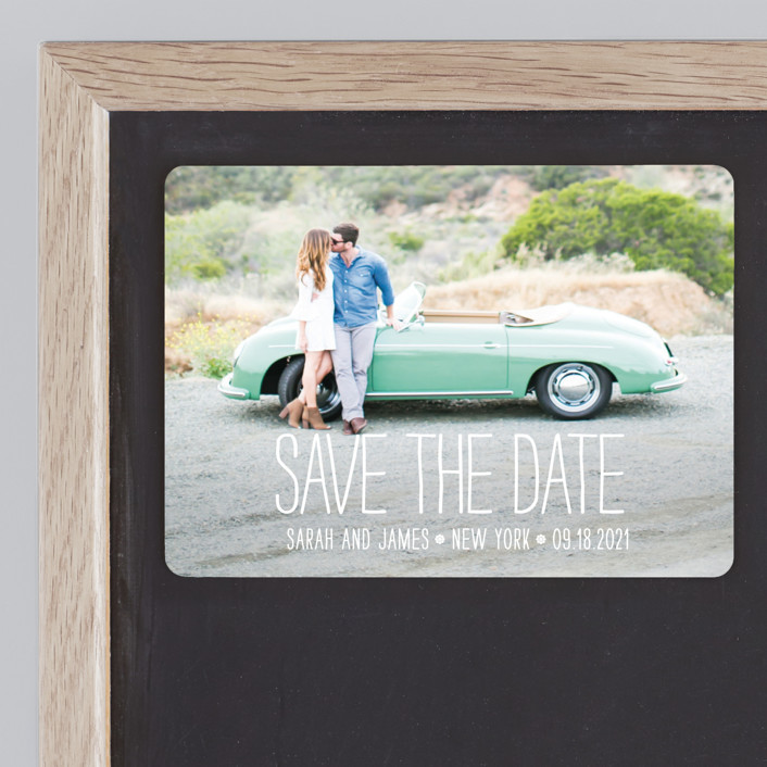 """""""Happiest Homestyle"""" - Bold typographic, Modern Save The Date Magnets in Snow by Max and Bunny."""