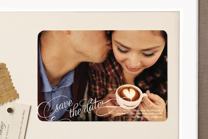 """""""Save in Script"""" - Full-Bleed Photo, Classical Save The Date Magnets in Cotton by Bourne Paper Co.."""