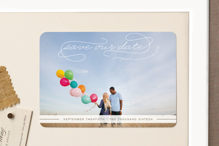"""Gallery Classic"" - Vintage, Modern Save The Date Magnets in Ice by Sydney Newsom."