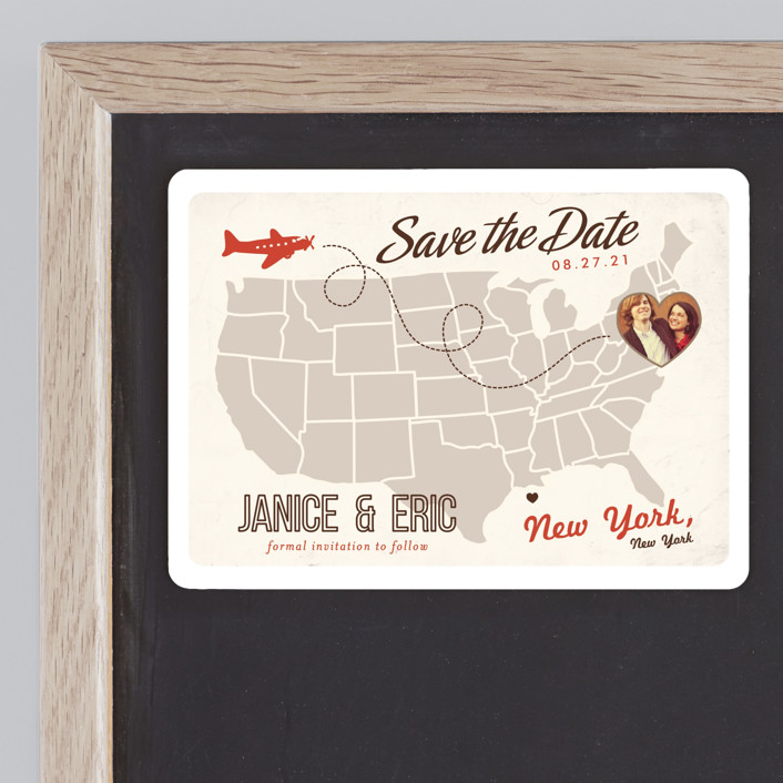 """Up and Away"" - Bold typographic, Destination Save The Date Magnets in Tomato by leslie hamer."