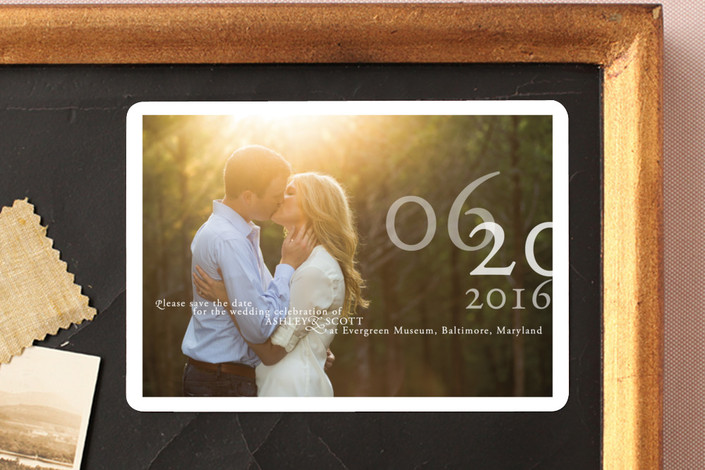 """""""Belle Memoire Landscape"""" - Modern Save The Date Magnets in Pearl by Helena Seo Design."""