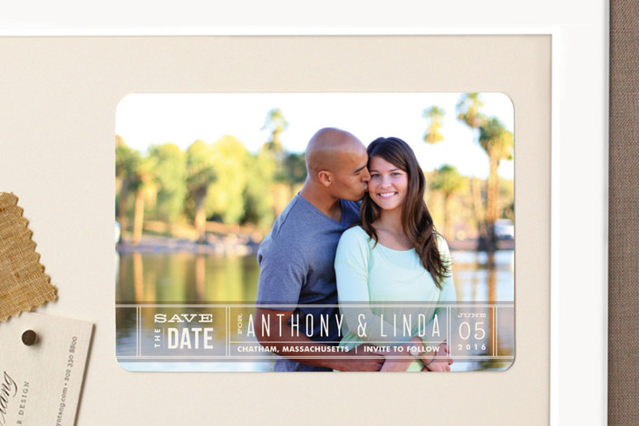 """Silver Screen"" - Bold typographic, Modern Save The Date Magnets in Kumquat by Jennifer Wick."