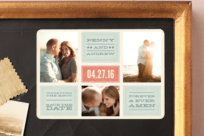 """""""Forever and Ever Amen"""" - Bold typographic, Modern Save The Date Magnets in Persimmon by Guess What Design Studio."""
