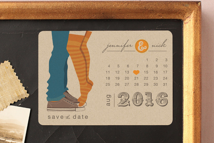 """Tiptoe Kiss"" - Bold typographic, Modern Save The Date Magnets in Mango by My Splendid Summer."