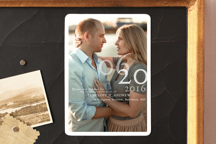 """Belle Memoire Portrait"" - Modern Save The Date Magnets in Pearl by Helena Seo Design."