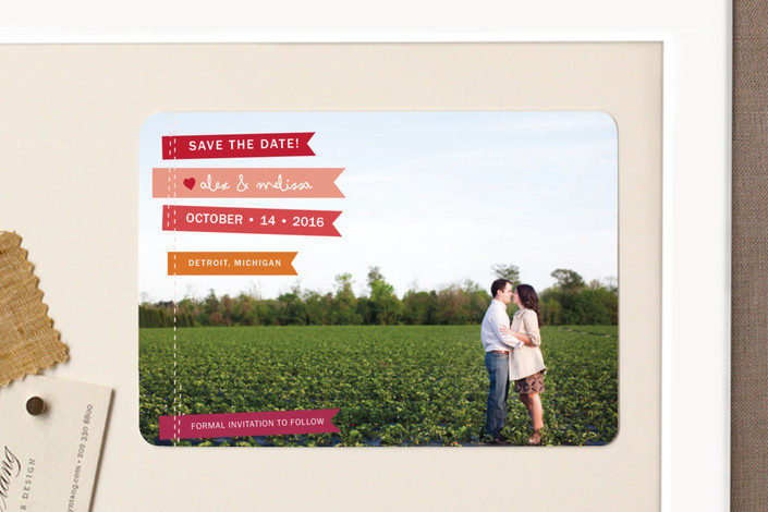 """Stitched Flags"" - Modern, Full-Bleed Photo Save The Date Magnets in Ruby by Snow and Ivy."
