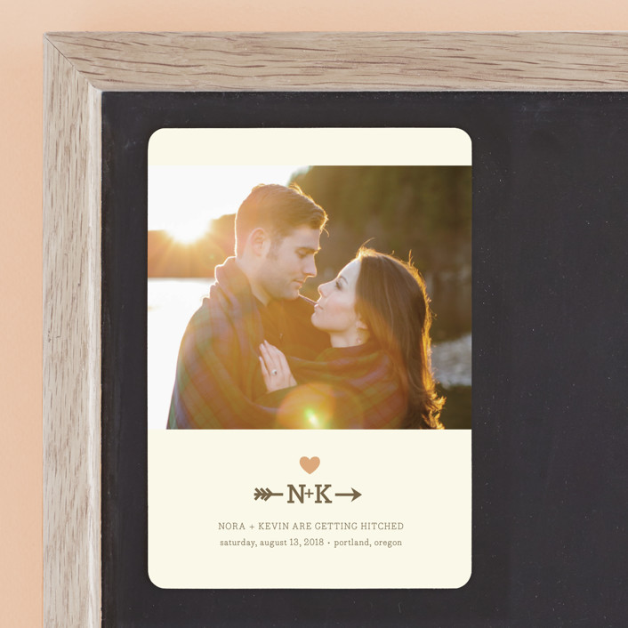 """""""Love Struck"""" - Monogrammed, Rustic Save The Date Magnets in Peach by The Social Type."""