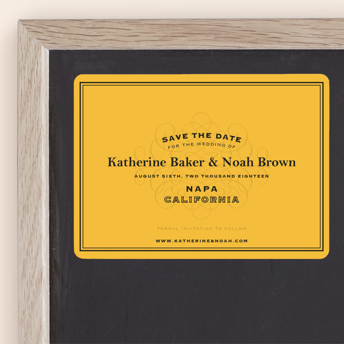 """Label"" - Winery, Destination Save The Date Magnets in Goldenrod by Lauren Chism."