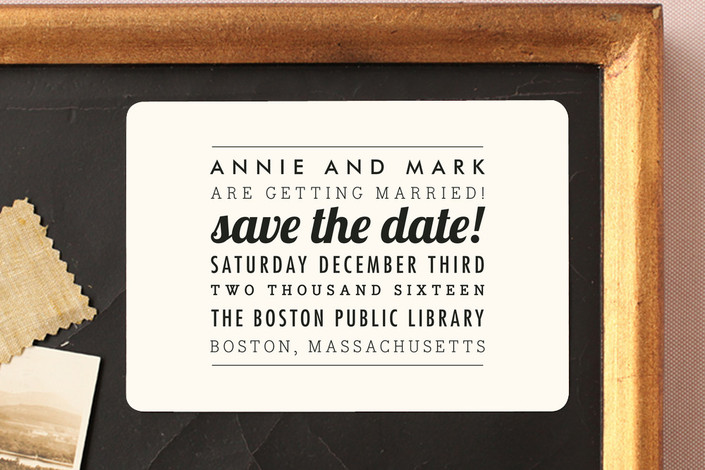 """""""The Square Type"""" - Simple, Modern Save The Date Magnets in Cream by Design Lotus."""