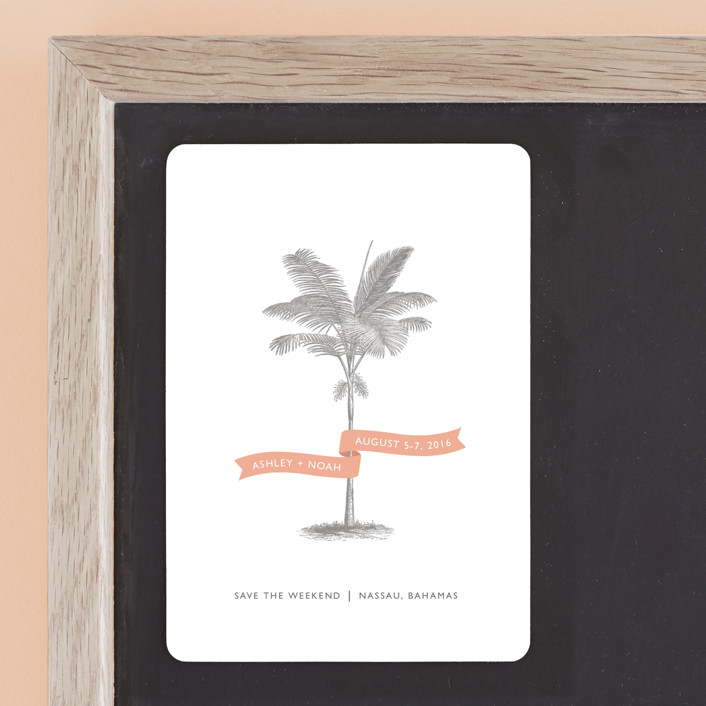"""Palm"" - Destination, Beach Save The Date Magnets in Salmon by Lauren Chism."