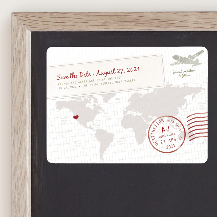 """""""A Faraway Destination"""" - Modern, Whimsical & Funny Save The Date Magnets in Cranberry by bumble ink."""