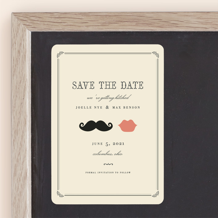 """Stache + Kiss"" - Whimsical & Funny, Vintage Save The Date Magnets in Crème by Penelope Poppy."