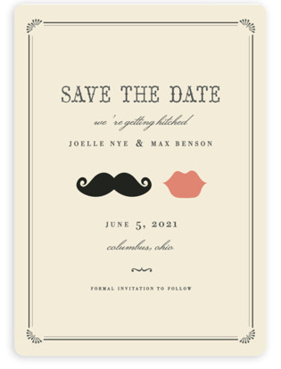 Stache + Kiss Save the Date Magnets