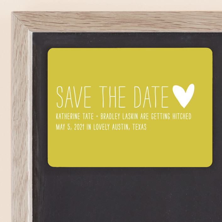 """""""Passing Notes"""" - Whimsical & Funny, Simple Save The Date Magnets in Mustard by annie clark."""