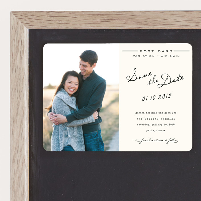 """Airmail"" - Whimsical & Funny, Vintage Save The Date Magnets in Ivory by annie clark."