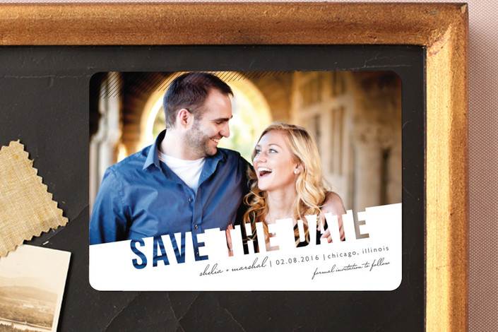 """Simply See Through"" - Modern Save The Date Magnets in Salt & Pepper by Lehan Veenker."