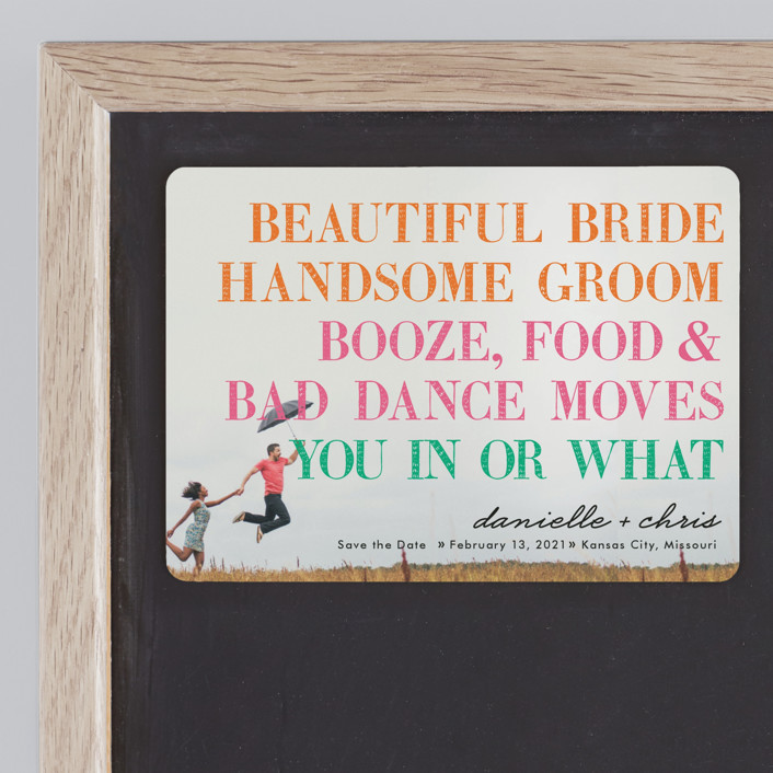 """""""You in or What"""" - Whimsical & Funny Save The Date Magnets in Tangerine by hi-lighter inc.."""