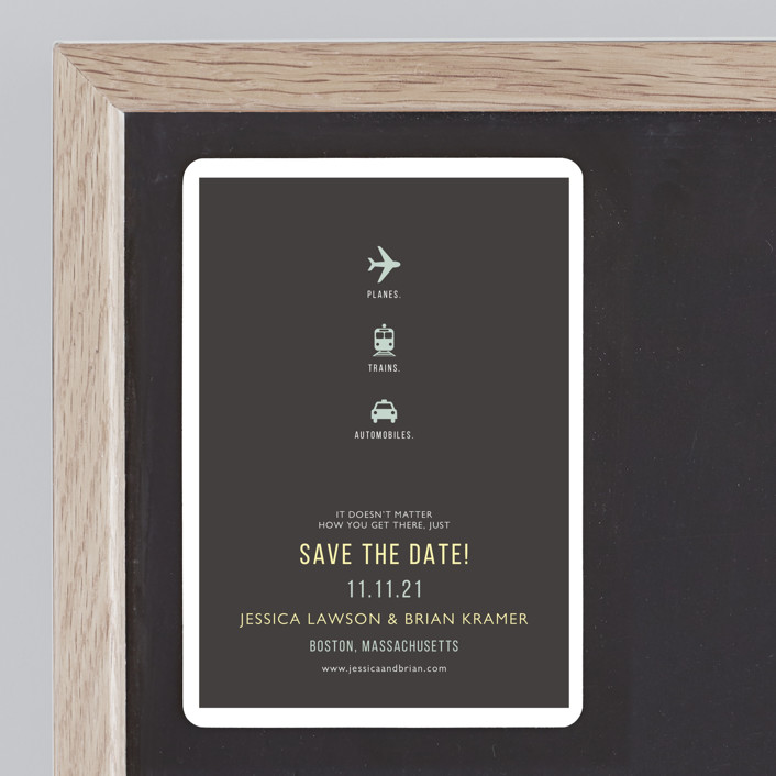 """""""Planes Trains Automobiles"""" - Whimsical & Funny, Modern Save The Date Magnets in Charcoal by Fig and Cotton."""