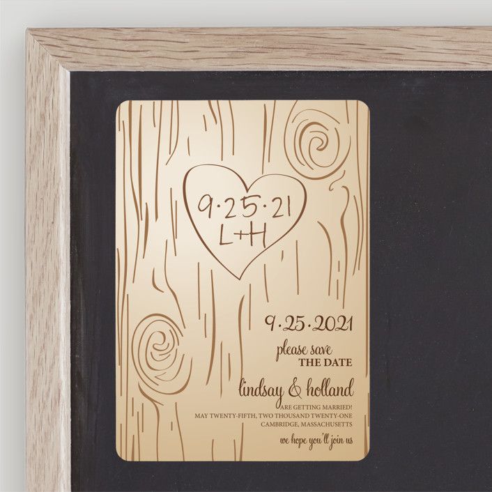 """Fall Carving"" - Rustic, Whimsical & Funny Save The Date Magnets in Woodgrain by Amanda Joy."