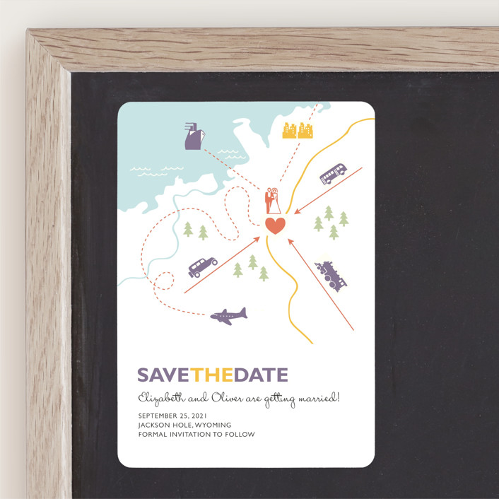 """Destination"" - Modern, Whimsical & Funny Save The Date Magnets in Lilac Haze by leslie hamer."