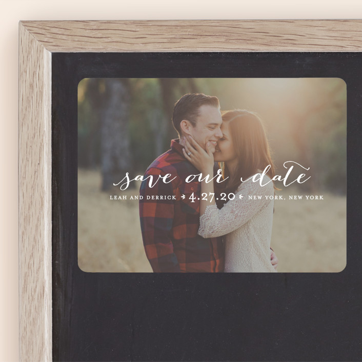 """Meet in the Middle"" - Full-Bleed Photo, Simple Save The Date Magnets in Lily by Lauren Chism."