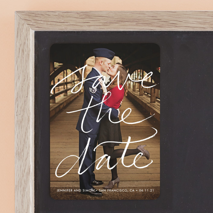 """""""Boutique"""" - Full-Bleed Photo, Simple Save The Date Magnets in Chalk by Laura Condouris."""