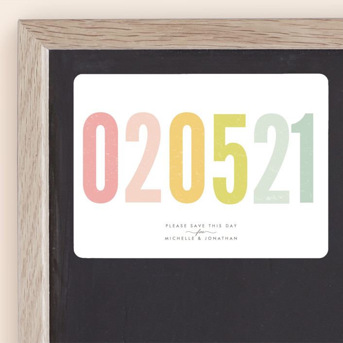 """""""Ice Cream Parlour Pastels"""" - Bold typographic, Whimsical & Funny Save The Date Magnets in Pastel by Phrosne Ras."""