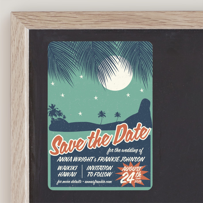 """""""Retro Hawaii"""" - Vintage, Destination Save The Date Magnets in Teal by Coco and Ellie Design."""