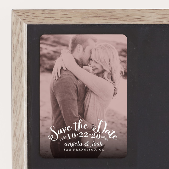 """""""Photogenic"""" - Whimsical & Funny, Vintage Save The Date Magnets in Rose by Hooray Creative."""