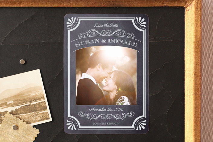 """A Chalkboard Marriage"" - Vintage, Classical Save The Date Magnets in Chalk by Erin Deegan."