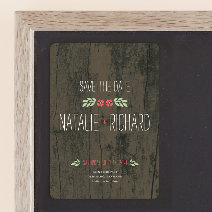 """""""In the Park"""" - Rustic Save The Date Magnets in Rose by Amanda Larsen Design."""