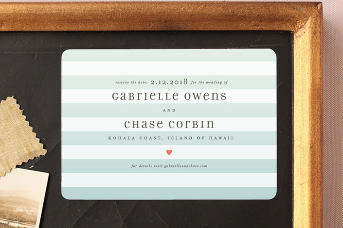 """""""Ombre Stripes"""" - Beach, Beach Save The Date Magnets in Ocean by Jill Means."""