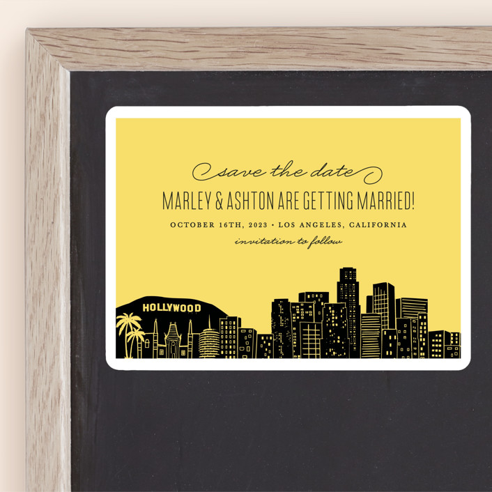 """""""Big City - Los Angeles"""" - Destination, Modern Save The Date Magnets in Lemondrop by Hooray Creative."""