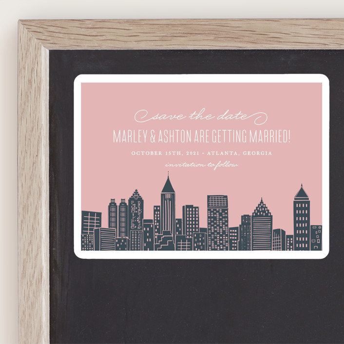 """""""Big City - Atlanta"""" - Destination, Modern Save The Date Magnets in Blush by Hooray Creative."""