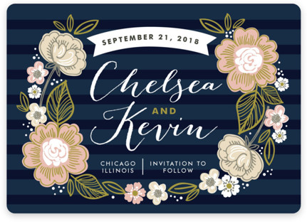 Striped Florals Save the Date Magnets