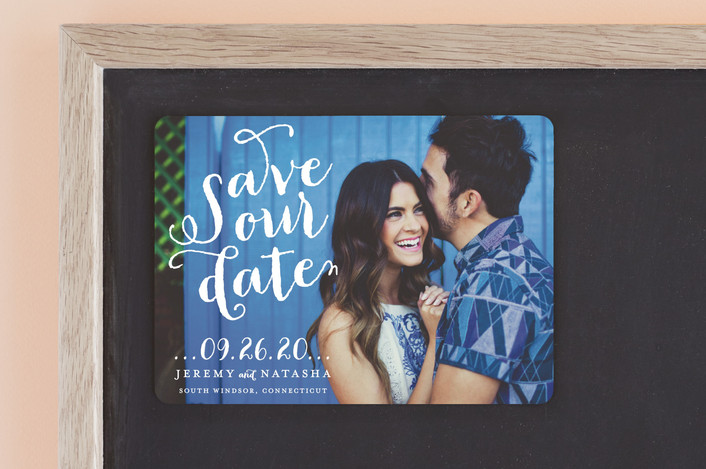"""Swirly"" - Full-Bleed Photo, Modern Save The Date Magnets in Dove by roxy."