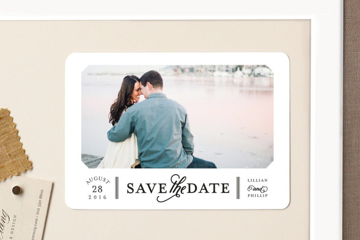"""""""Sterling"""" - Modern, Simple Save The Date Magnets in Noir by Sarah Brown."""
